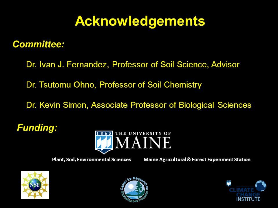 Conclusions SOC different - soil drainage classes & forest types - MWD > SWPD, PD - CF > BLD - belowground productivity (roots) & coarse fragments - wetland type matters (O vs.