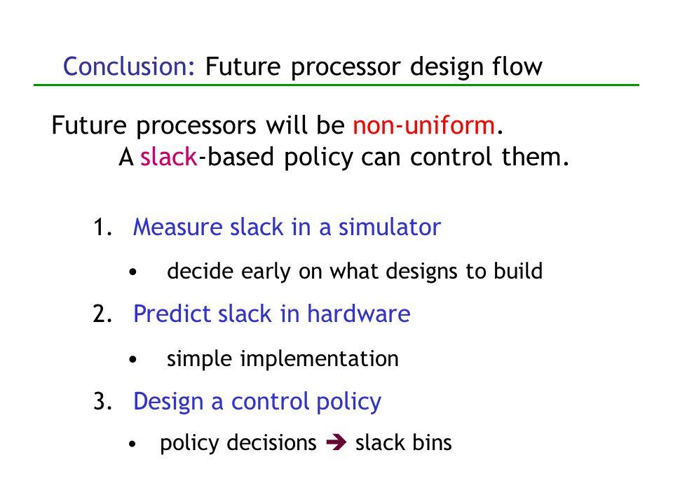 Slack used up Average global slack per dynamic instruction 2 fast, high-power pipelines slack-based policy reg-dep steering