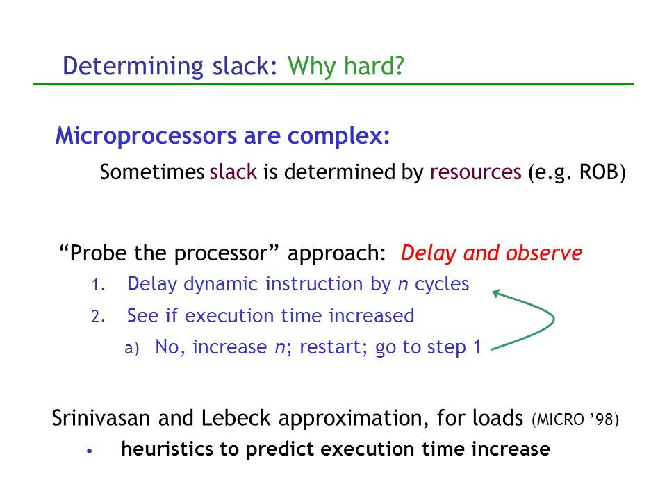 Determining slack: Why hard. Probe the processor approach: Delay and observe 1.