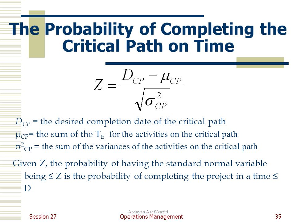 Session 27 Operations Management35 Ardavan Asef-Vaziri The Probability of Completing the Critical Path on Time D CP = the desired completion date of the critical path  CP = the sum of the T E for the activities on the critical path  2 CP = the sum of the variances of the activities on the critical path Given Z, the probability of having the standard normal variable being ≤ Z is the probability of completing the project in a time ≤ D