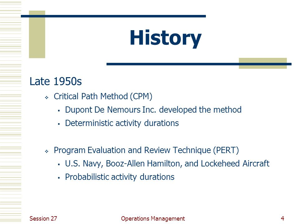 Session 27 Operations Management4 History Late 1950s  Critical Path Method (CPM)  Dupont De Nemours Inc. developed the method  Deterministic activi