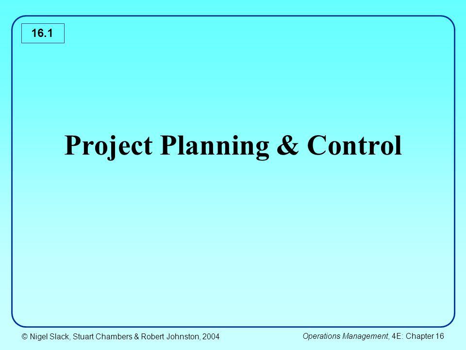 © Nigel Slack, Stuart Chambers & Robert Johnston, 2004 Operations Management, 4E: Chapter 16 16.32 Road Construction Activities ActivityDurationPreceding activities A5- B10- C1- D8B E B F9B G3A, D H7 I4F J3F K5C, J L8H, E, I, K M4C, J