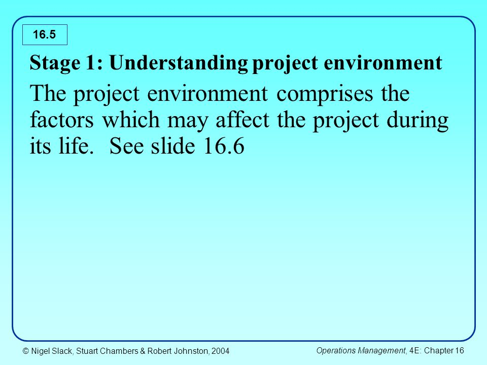 © Nigel Slack, Stuart Chambers & Robert Johnston, 2004 Operations Management, 4E: Chapter 16 16.6 Geo-social environment Geography National culture Econo-political environment Economy Government Business environment Customers Competitors Suppliers/sub-contractors Internal environment Company strategy Resources Other projects The Project Examples of factors that may affect the project environment
