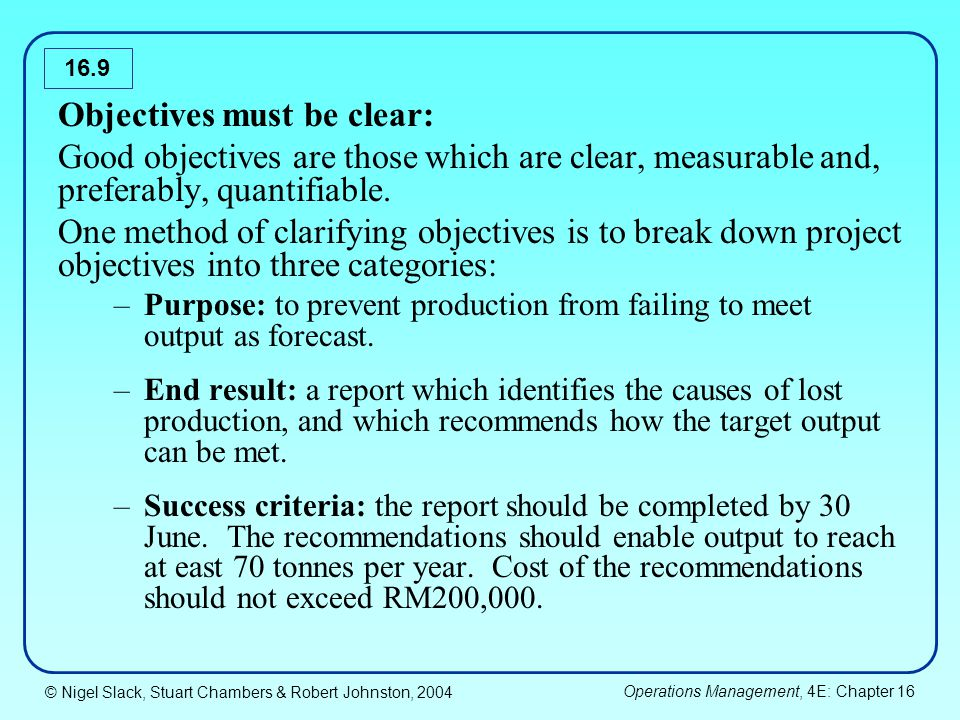 © Nigel Slack, Stuart Chambers & Robert Johnston, 2004 Operations Management, 4E: Chapter 16 16.9 Objectives must be clear: Good objectives are those which are clear, measurable and, preferably, quantifiable.