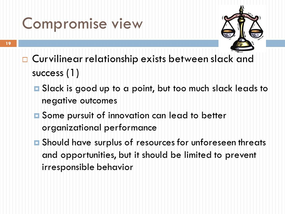Compromise view  Curvilinear relationship exists between slack and success (1)  Slack is good up to a point, but too much slack leads to negative ou
