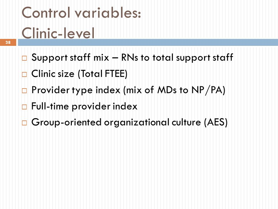 Control variables: Clinic-level  Support staff mix – RNs to total support staff  Clinic size (Total FTEE)  Provider type index (mix of MDs to NP/PA
