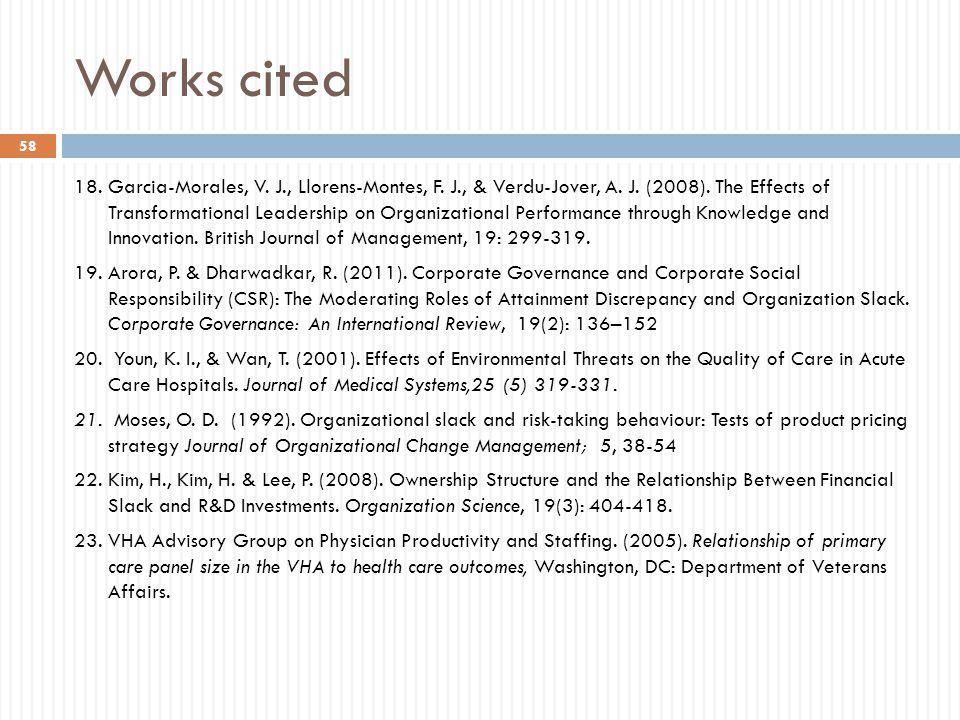 Works cited 18. Garcia-Morales, V. J., Llorens-Montes, F.