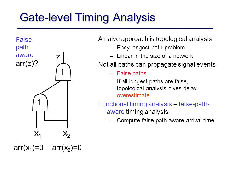 Gate-level Timing Analysis A naive approach is topological analysis –Easy longest-path problem –Linear in the size of a network Not all paths can propagate signal events –False paths –If all longest paths are false, topological analysis gives delay overestimate Functional timing analysis = false-path- aware timing analysis –Compute false-path-aware arrival time arr(x 1 )=0 arr(x 2 )=0 False path aware arr(z).