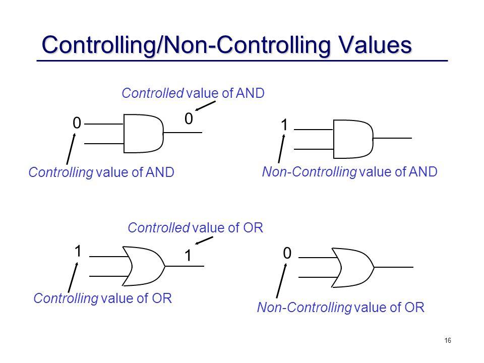 16 Controlling/Non-Controlling Values 0 0 1 Controlling value of AND Controlled value of AND 1 1 Controlling value of OR Controlled value of OR Non-Controlling value of AND 0 Non-Controlling value of OR 1 1 0