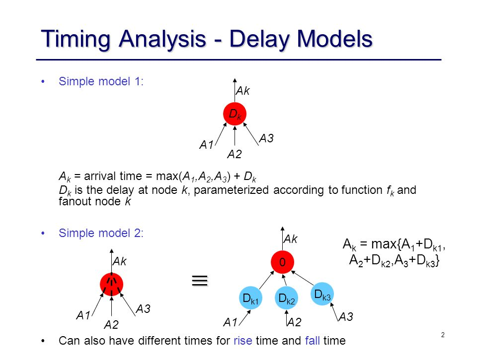 2 Timing Analysis - Delay Models Simple model 1: A k = arrival time = max(A 1,A 2,A 3 ) + D k D k is the delay at node k, parameterized according to function f k and fanout node k Simple model 2: DkDk A1 A2 A3 Ak A1 A2 A3 Ak 0 A1A2 A3 Ak D k1 D k2 D k3 Can also have different times for rise time and fall time  A k = max{A 1 +D k1, A 2 +D k2,A 3 +D k3 }