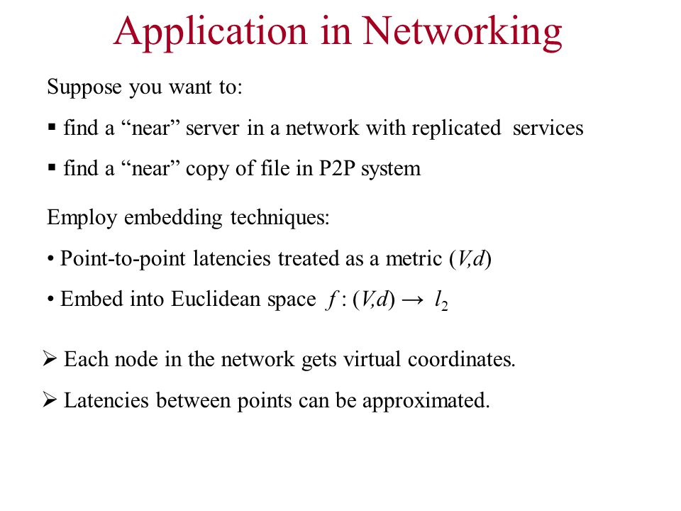 Application in Networking  Each node in the network gets virtual coordinates.