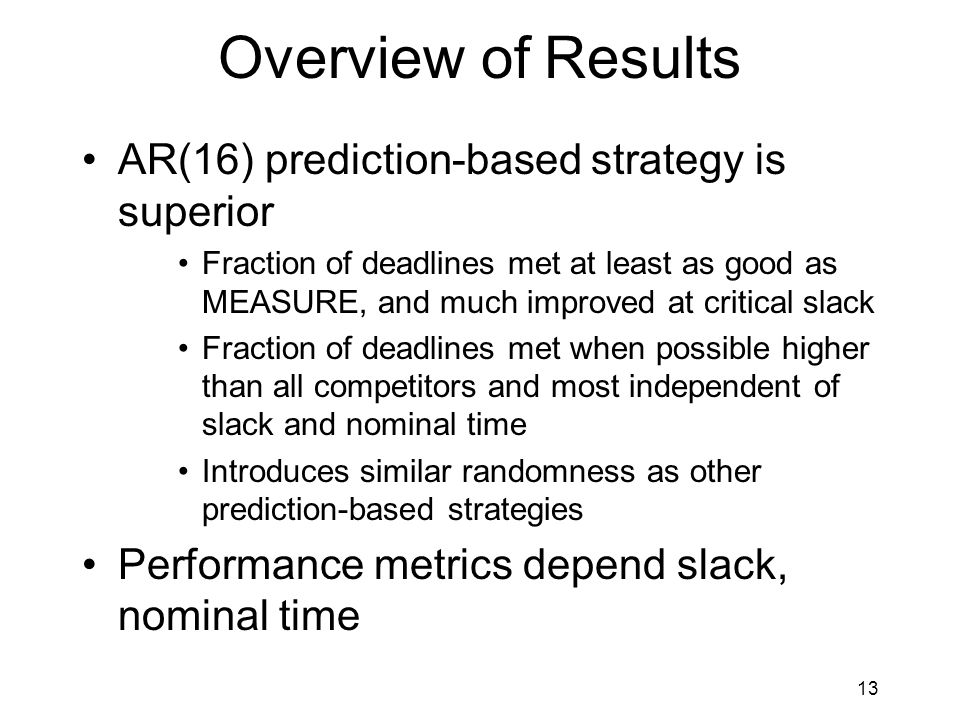 13 Overview of Results AR(16) prediction-based strategy is superior Fraction of deadlines met at least as good as MEASURE, and much improved at critical slack Fraction of deadlines met when possible higher than all competitors and most independent of slack and nominal time Introduces similar randomness as other prediction-based strategies Performance metrics depend slack, nominal time