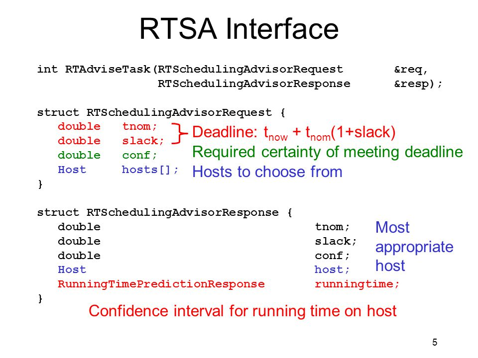 5 RTSA Interface int RTAdviseTask(RTSchedulingAdvisorRequest &req, RTSchedulingAdvisorResponse &resp); struct RTSchedulingAdvisorRequest { double tnom; double slack; double conf; Host hosts[]; } struct RTSchedulingAdvisorResponse { double tnom; double slack; double conf; Host host; RunningTimePredictionResponse runningtime; } Deadline: t now + t nom (1+slack) Hosts to choose from Required certainty of meeting deadline Most appropriate host Confidence interval for running time on host