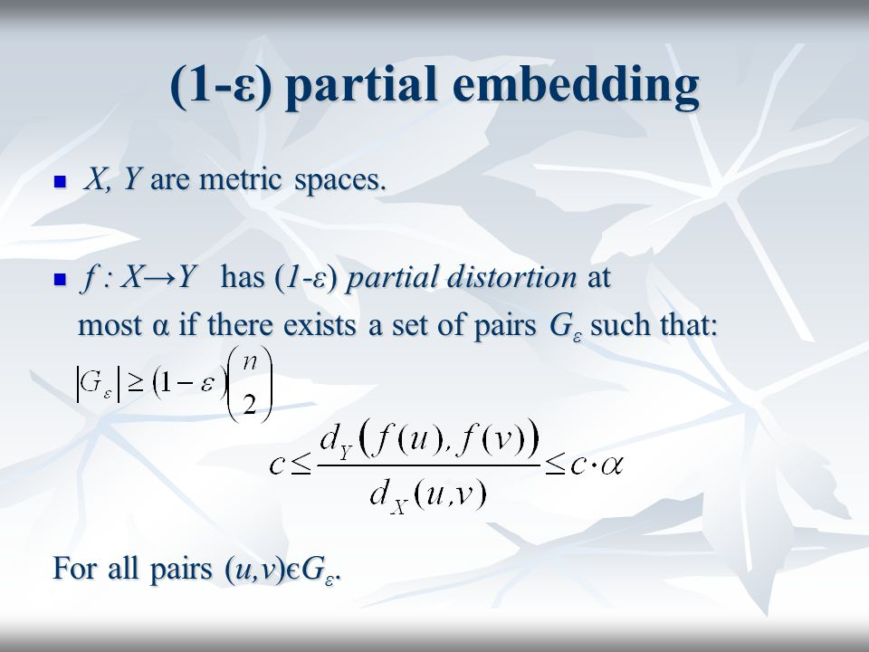 Partial Embedding Use the embedding φ:B→l p.Use the embedding φ:B→l p.