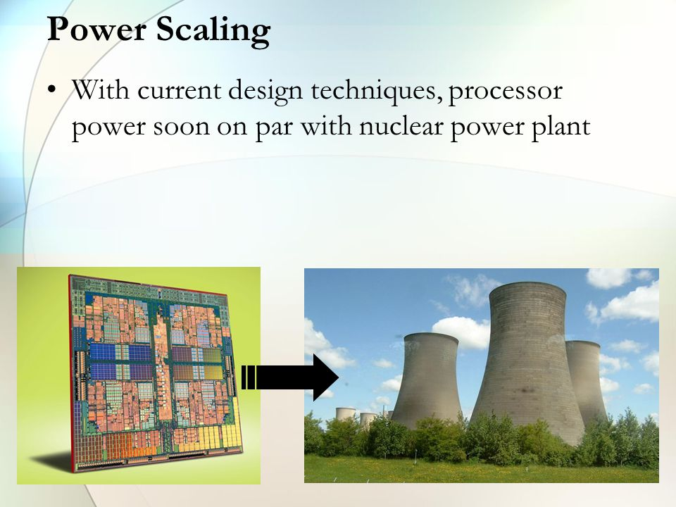Power Scaling With current design techniques, processor power soon on par with nuclear power plant