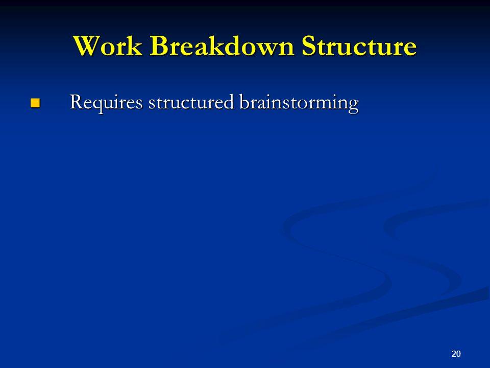 20 Work Breakdown Structure Requires structured brainstorming Requires structured brainstorming