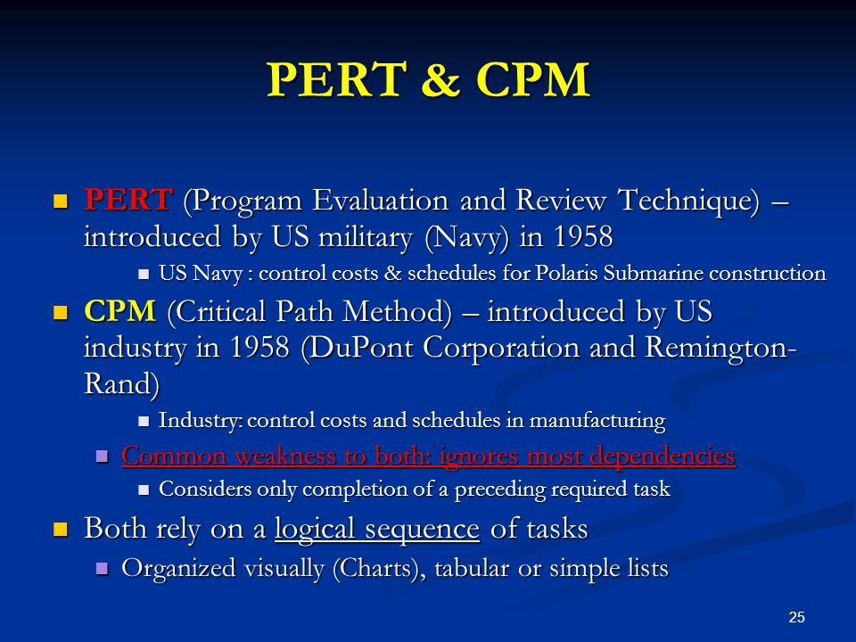 25 PERT & CPM PERT (Program Evaluation and Review Technique) – introduced by US military (Navy) in 1958 PERT (Program Evaluation and Review Technique)