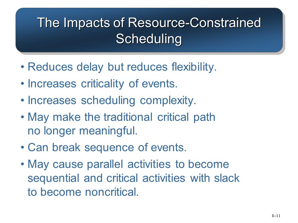 8–11 The Impacts of Resource-Constrained Scheduling Reduces delay but reduces flexibility. Increases criticality of events. Increases scheduling compl