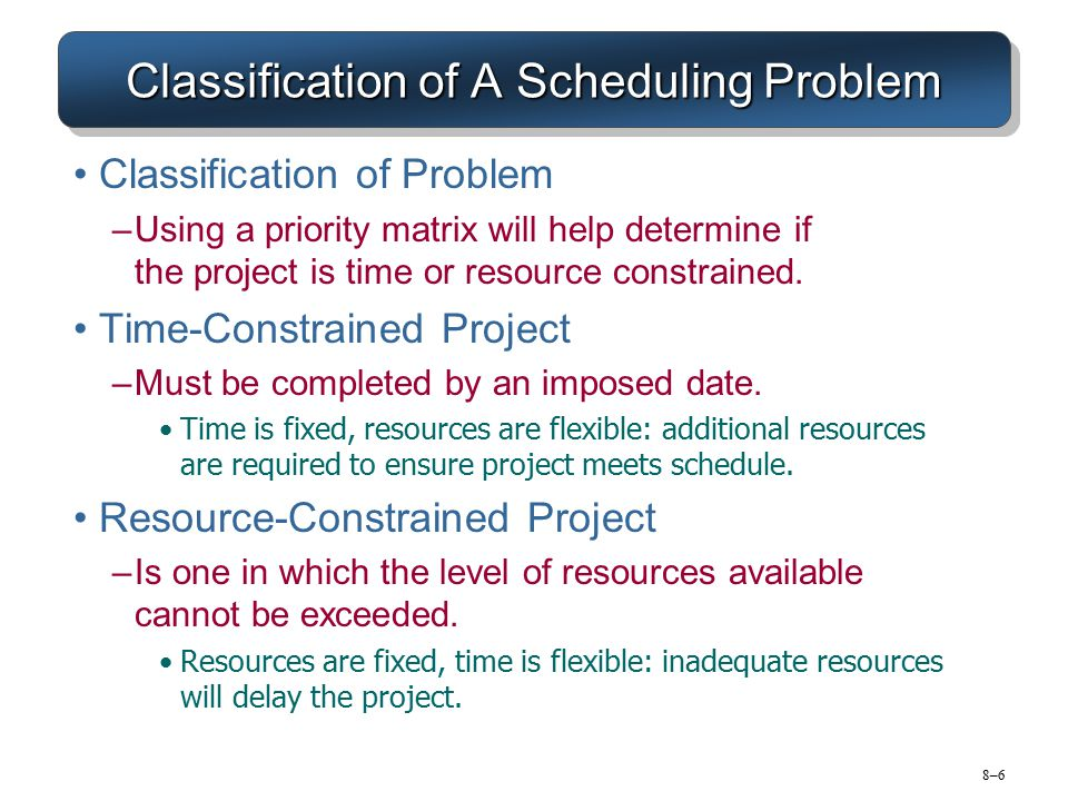 8–78–7 Resource Allocation Methods Limiting Assumptions –Splitting activities is not allowed—once an activity is start, it is carried to completion.