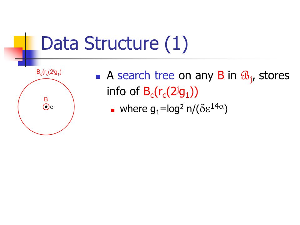 Data Structure (1) A search tree on any B in B j, stores info of B c (r c (2 j g 1 )) where g 1 =log 2 n/(  14  )