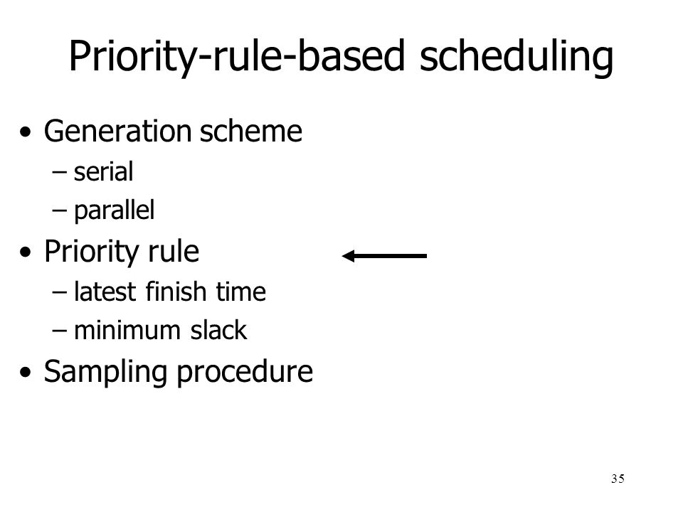 36 Priority-rule-based scheduling: priority rules Latest finish time (LFT) priority rule: Minimum slack (MS) priority rule current earliest starting time