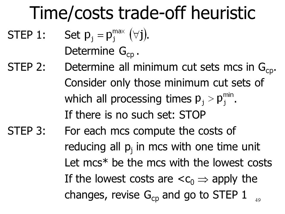 50 Time/costs trade-off heuristic example 4.4.1 8 24 3 5 6 7 1 6 9 12 7 10 5 9 11 12 13 14 10 6 7 9 8 7 5 processing time T S