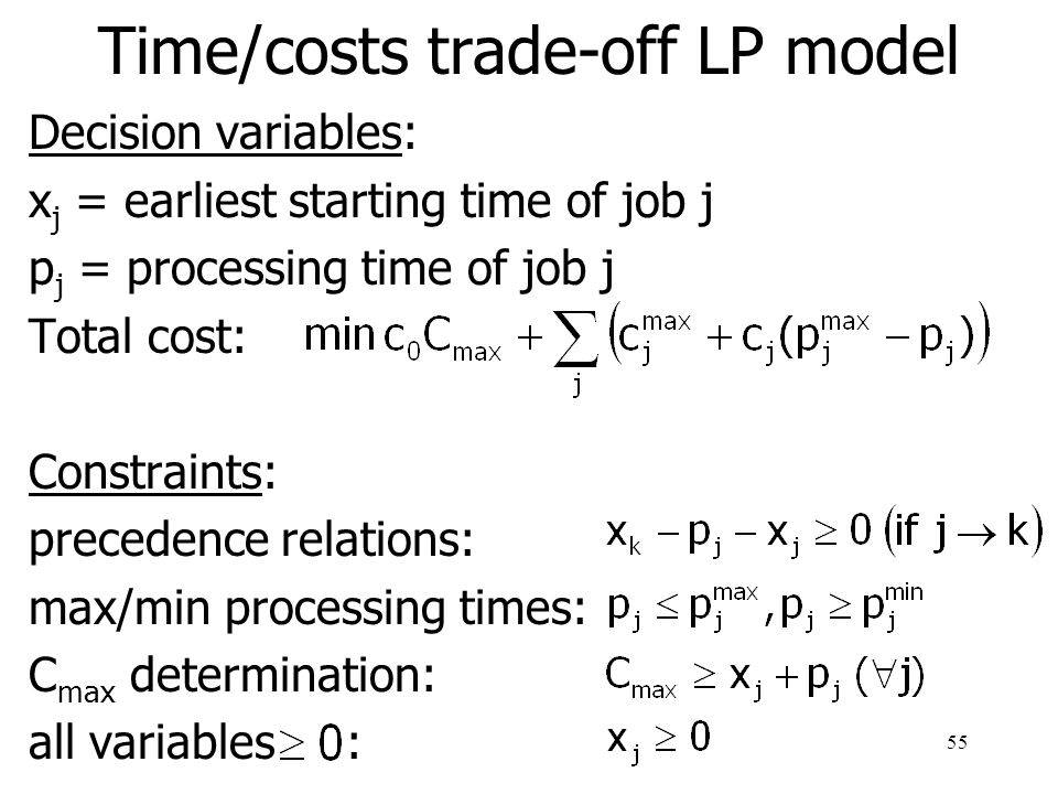 56 Time/costs trade-off: nonlinear costs Discrete time-framework: decreasing convex cost-function non-decreasing overhead cost-function c 0 (t) use the same heuristic as for the linear costs Continuous time-framework: non-linear model with the same constraints as the LP-model, but with the objective: