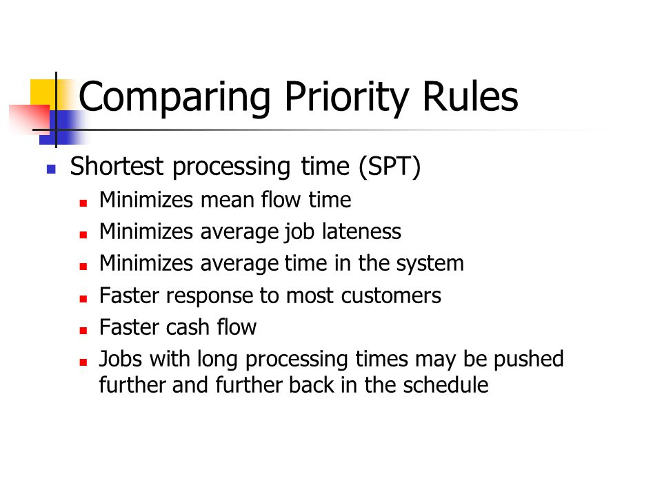 Comparing Priority Rules Shortest processing time (SPT) Minimizes mean flow time Minimizes average job lateness Minimizes average time in the system Faster response to most customers Faster cash flow Jobs with long processing times may be pushed further and further back in the schedule