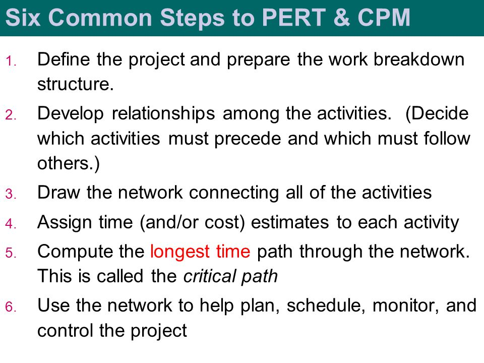 Six Common Steps to PERT & CPM 1.Define the project and prepare the work breakdown structure.