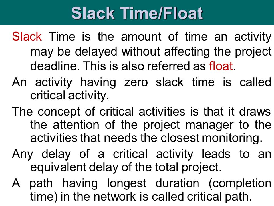 is t Slack Time is the amount of time an activity may be delayed without affecting the project deadline. This is also referred as float. An activity h