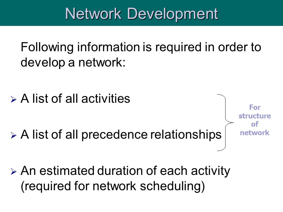 Following information is required in order to develop a network:  A list of all activities  A list of all precedence relationships  An estimated duration of each activity (required for network scheduling) Network Development For structure of network