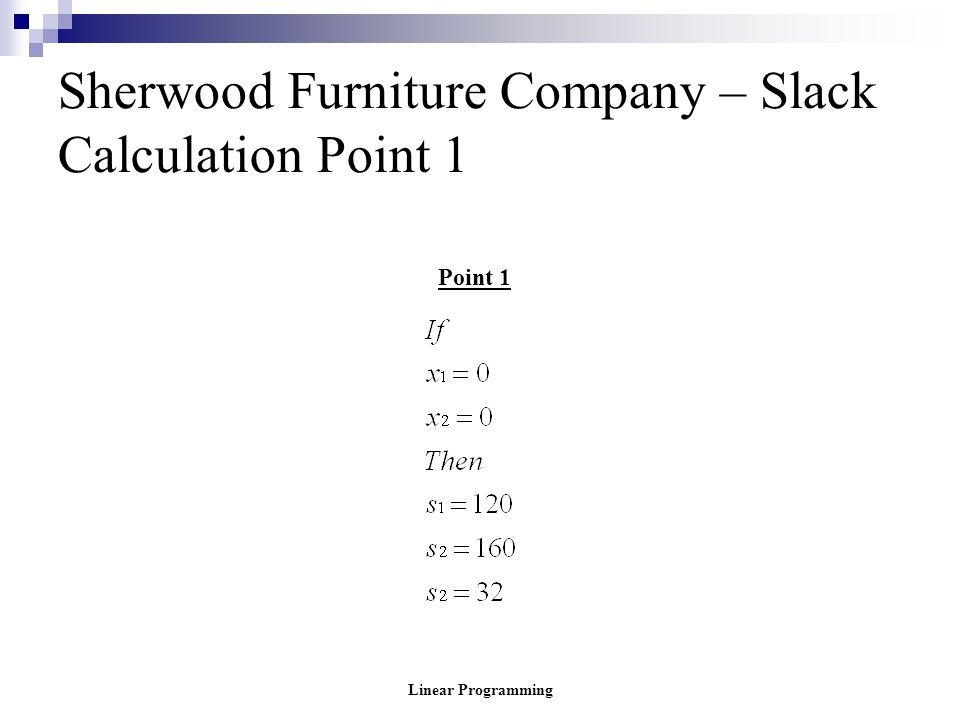 Linear Programming Sherwood Furniture Company – Slack Calculation Point 1 Point 1