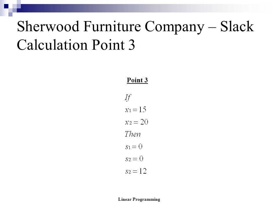 Linear Programming Sherwood Furniture Company – Slack Calculation Point 3 Point 3