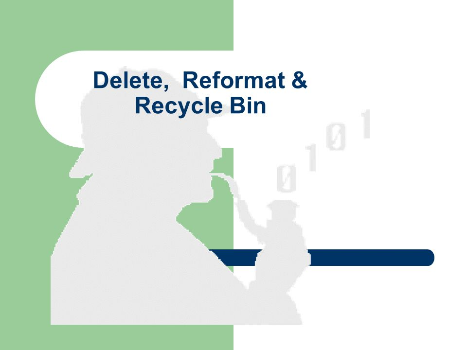Delete, Reformat & Recycle Bin