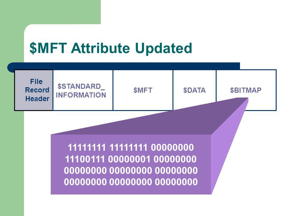 $MFT Attribute Updated File Record Header $MFT $STANDARD_ INFORMATION $DATA$BITMAP 11111111 11111111 00000000 11100111 00000001 00000000 00000000 00000000 00000000