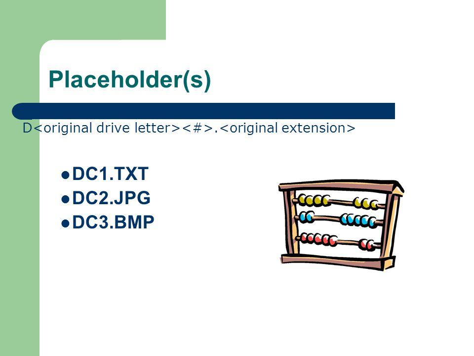 Placeholder(s) D. DC1.TXT DC2.JPG DC3.BMP