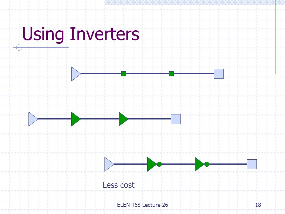 ELEN 468 Lecture 2618 Using Inverters Less cost