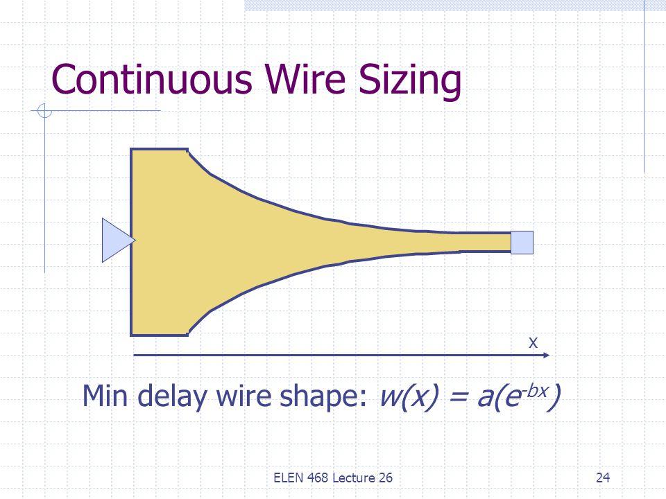 ELEN 468 Lecture 2624 Continuous Wire Sizing Min delay wire shape: w(x) = a(e -bx ) x