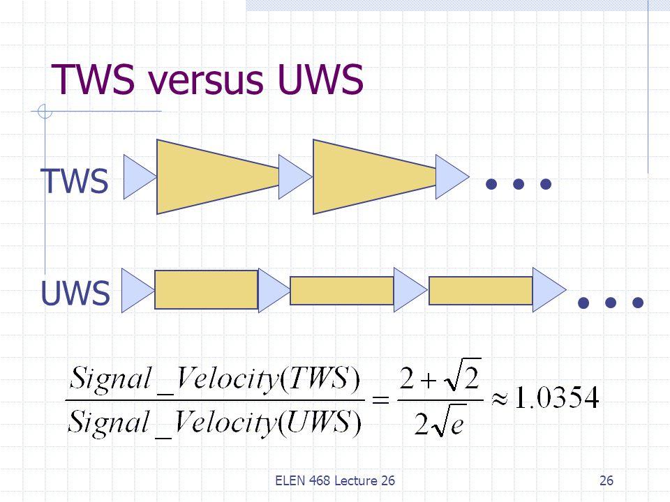 ELEN 468 Lecture 2626 TWS versus UWS TWS UWS