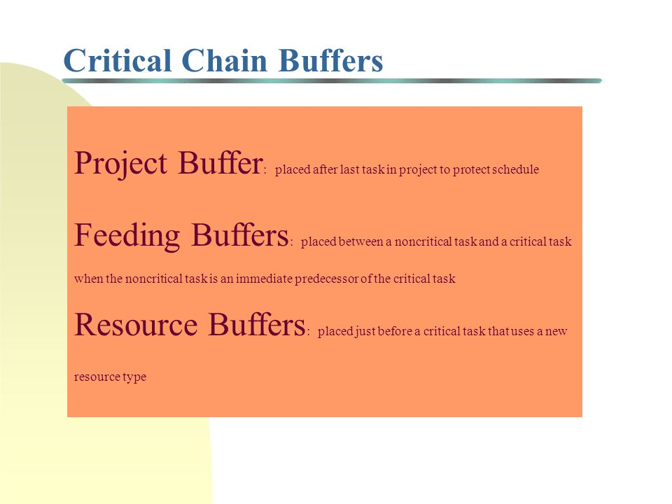 Critical Chain Buffers Project Buffer : placed after last task in project to protect schedule Feeding Buffers : placed between a noncritical task and a critical task when the noncritical task is an immediate predecessor of the critical task Resource Buffers : placed just before a critical task that uses a new resource type
