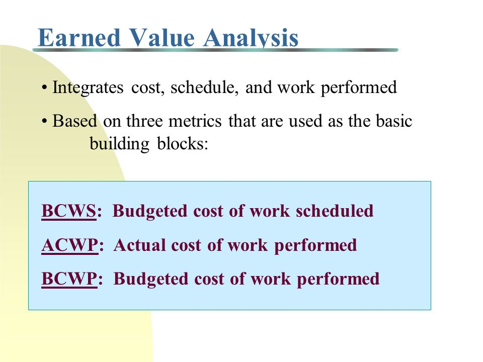 Earned Value Analysis Integrates cost, schedule, and work performed Based on three metrics that are used as the basic building blocks: BCWS: Budgeted cost of work scheduled ACWP: Actual cost of work performed BCWP: Budgeted cost of work performed