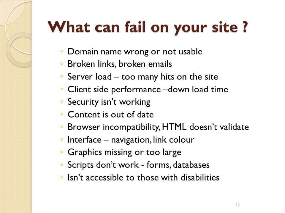 What can fail on your site ? ◦ Domain name wrong or not usable ◦ Broken links, broken emails ◦ Server load – too many hits on the site ◦ Client side p
