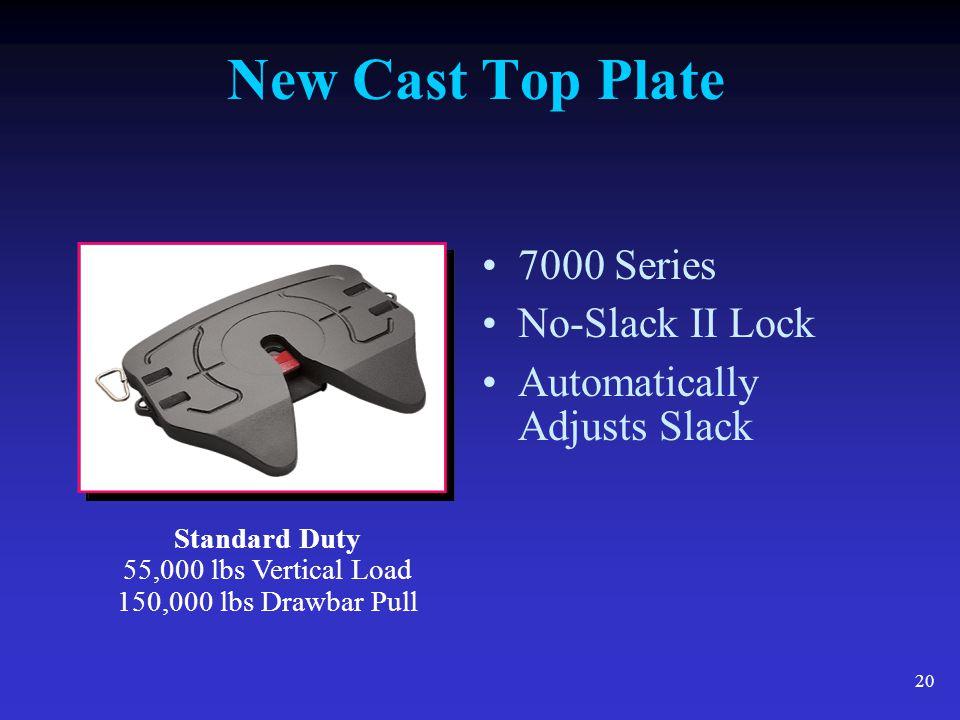 20 New Cast Top Plate 7000 Series No-Slack II Lock Automatically Adjusts Slack Standard Duty 55,000 lbs Vertical Load 150,000 lbs Drawbar Pull