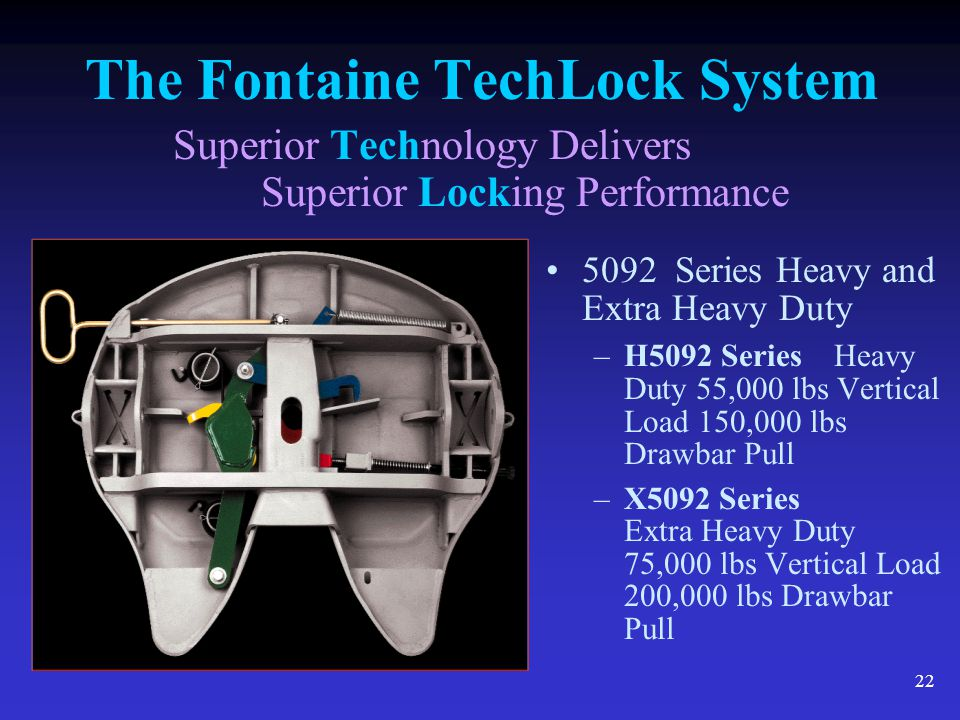 22 The Fontaine TechLock System Superior Technology Delivers Superior Locking Performance 5092 Series Heavy and Extra Heavy Duty –H5092 Series Heavy D