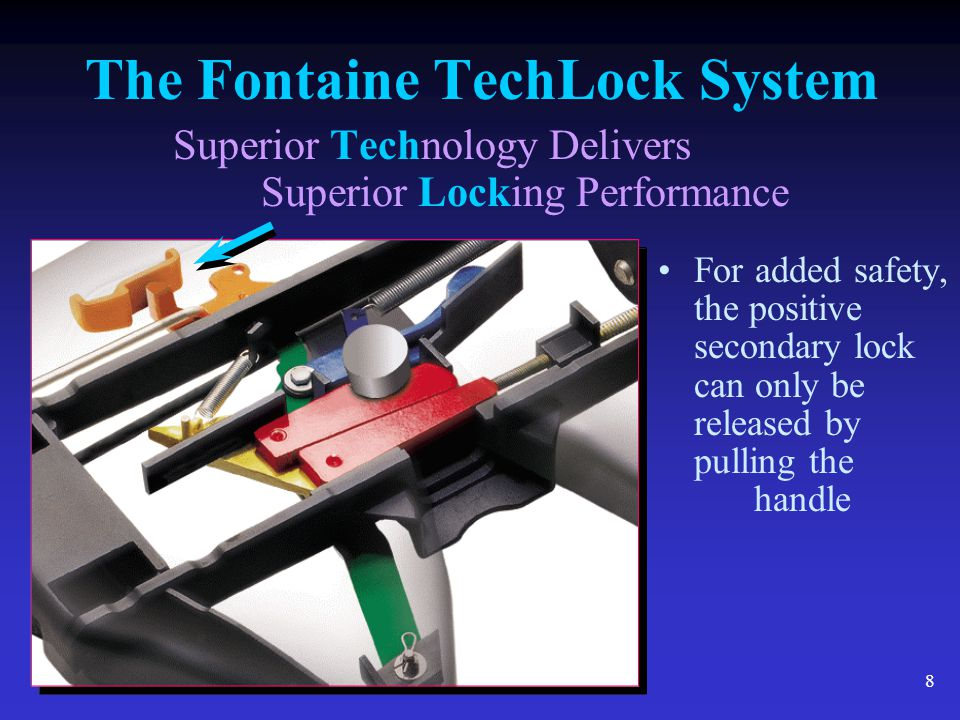 8 The Fontaine TechLock System Superior Technology Delivers Superior Locking Performance For added safety, the positive secondary lock can only be rel