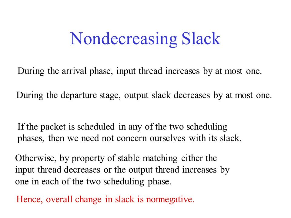 Nondecreasing Slack During the arrival phase, input thread increases by at most one.