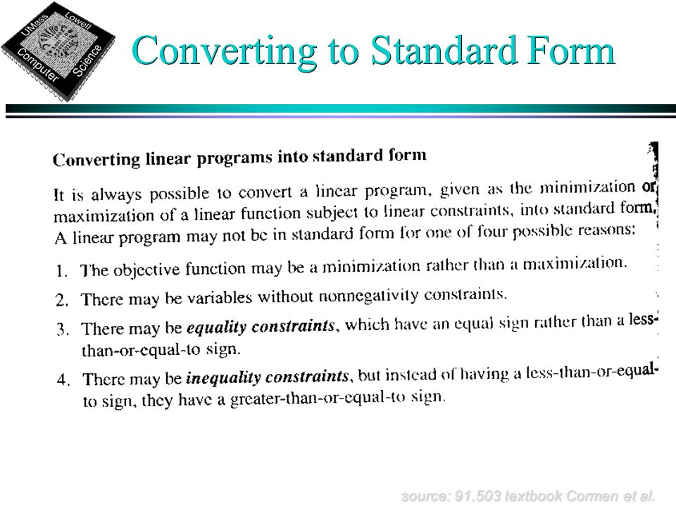 Converting to Standard Form source: 91.503 textbook Cormen et al.