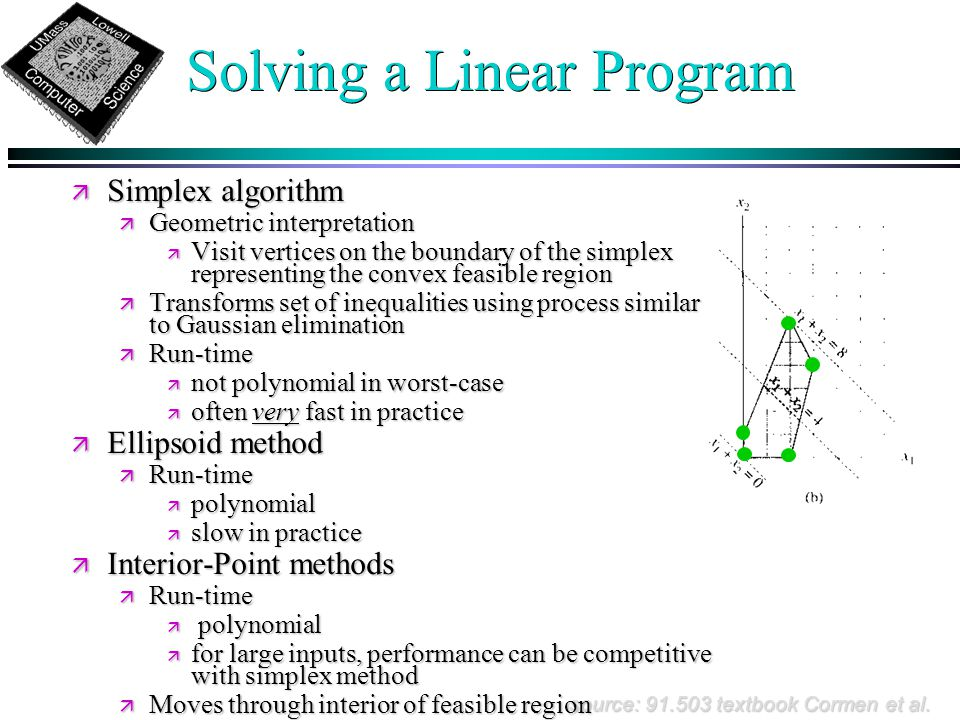 Solving a Linear Program source: 91.503 textbook Cormen et al.