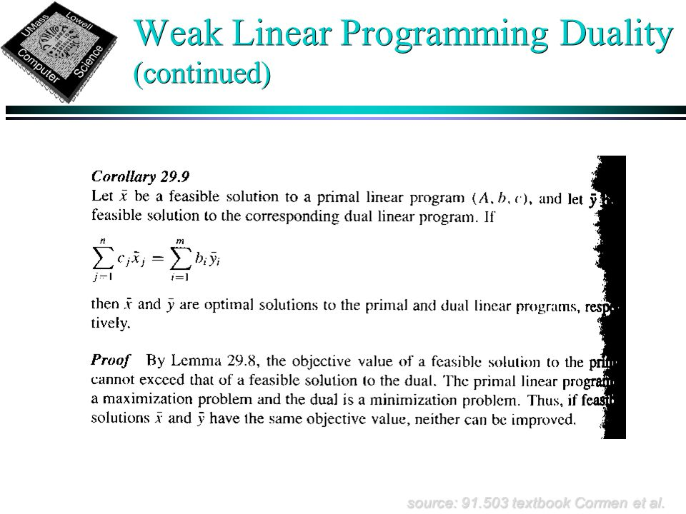 Weak Linear Programming Duality (continued) source: 91.503 textbook Cormen et al.