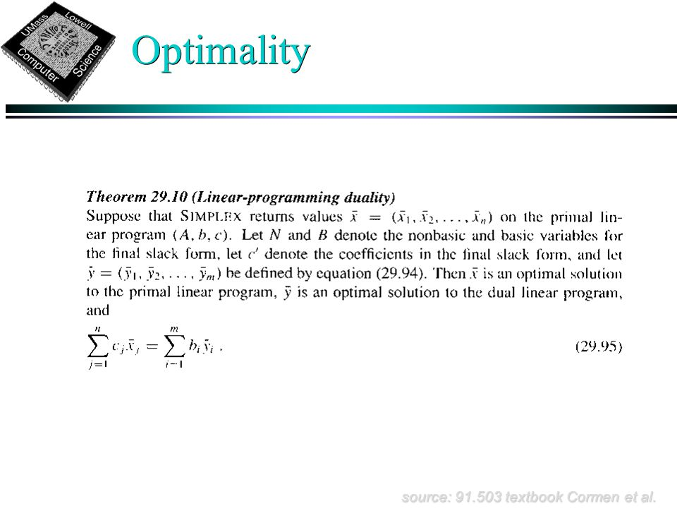 Optimality source: 91.503 textbook Cormen et al.